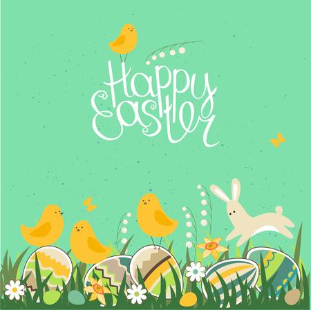 tarjeta de felicitación de la primavera. Frase feliz Pascua. Huevos, hierba, flores de la primavera, conejo y pollos. Plantilla para el diseño, tarjetas de felicitación festivas, anuncios, carteles. Ilustración de vector