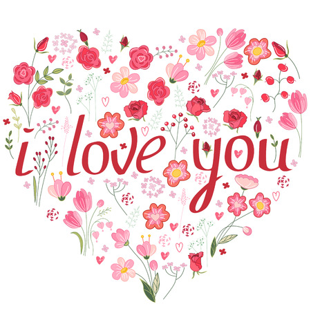 i love you symbol: Shape heart made of stylized flowers and pink roses.  Phrase I love you.  Symbol of love  for romantic design,  wedding invitations, advertisement. Illustration