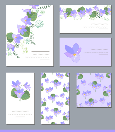 violas: Floral spring templates with cute wild violas. For romantic and easter design, announcements, greeting cards, posters, advertisement.