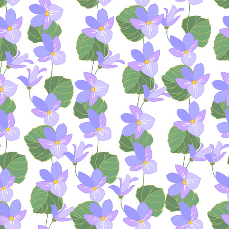 violas: Floral seamless pattern made of wild forest violas. Endless texture for romantic  design, decoration,  greeting cards, posters,  invitations, advertisement.