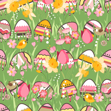 tulips in green grass: Festive spring seamless pattern. Endless texture with eggs on green grass. Painted eggs, spring flowers, tulips and birds. For your design, greeting cards,  wrappings, fabrics, announcements.