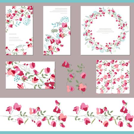 Bloemvlindersjablonen met zoete erwten. Decoratieve elementen, eindeloze patroonborstel en rond frame. Voor romantisch en zomerontwerp, aankondigingen, wenskaarten, posters, reclame.