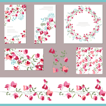 in peas: Floral spring templates with sweet peas. Decorative elements, endless pattern brush  and round frame. For romantic and summer design, announcements, greeting cards, posters, advertisement.