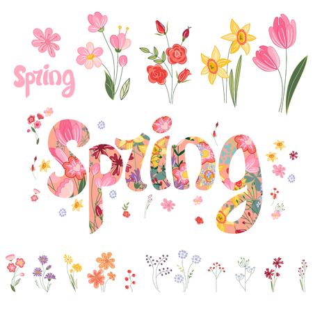 Spring réglé. Phrase faite de fleurs, des objets isolés. Pour votre conception, cartes de voeux de fête, des affiches. Vecteurs
