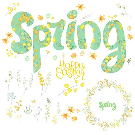 floral objects: Spring set. Phrase made of flowers, isolated floral objects, text happy easter, painted eggs, round frame.  Objects for your design, festive greeting cards,  , posters.