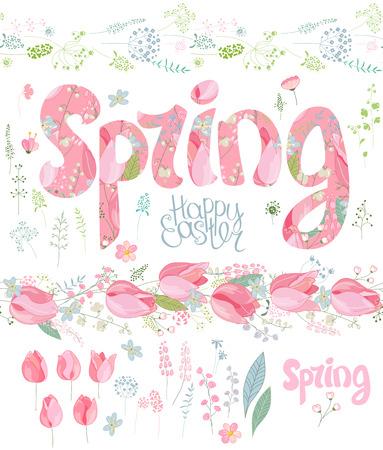 Jeu de ressorts. Phrase en fleurs, objets floraux isolés, texte joyeuses pâques, oeufs peints. Objets pour votre conception, cartes de voeux de fête, des affiches.