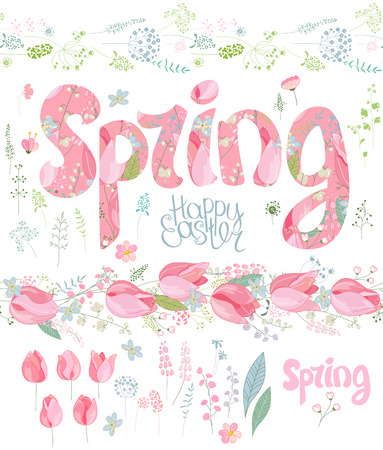 floral objects: Spring set. Phrase made of flowers, isolated floral objects, text happy easter, painted eggs.  Objects for your design, festive greeting cards,  posters.