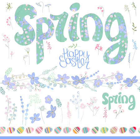floral objects: Spring set. Phrase made of flowers, isolated floral objects, seamless pattern brush. Objects for your floral design, festive greeting cards,  posters.