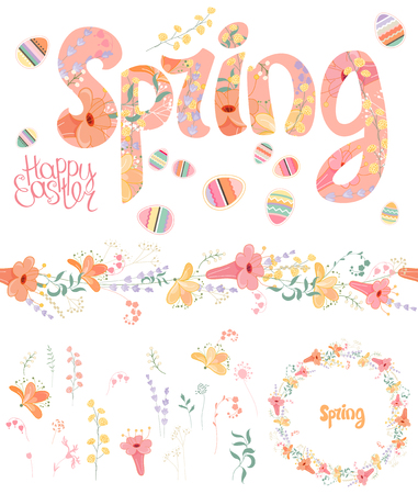 floral objects: Spring set. Phrase made of flowers, isolated floral objects, text happy easter, painted eggs, round frame, seamless pattern brush. Objects for your design, festive greeting cards,  , posters.