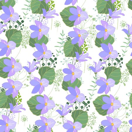violas: Seamless floral pattern with blue flowers violas. Endless texture for your design, greeting cards, announcements, posters. Illustration