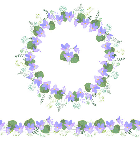 violas: Floral round garland and endless pattern brush made of violas. Flowers for romantic and easter design, decoration,  greeting cards, posters, advertisement.