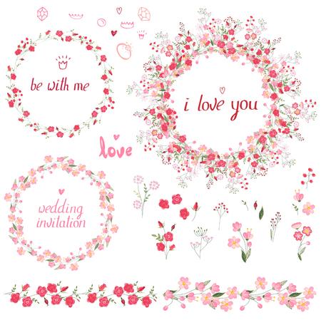 Romantische set met bloemenelementen, ronde frames gemaakt van rozen, eindeloze patroonborstels en zin die ik van je hou.