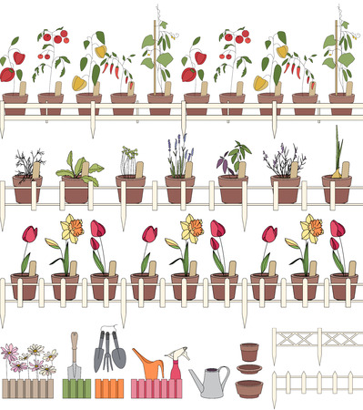 garden patio: Seamless pattern brushes with growing herbs and vegetatles in pots. Endless horizontal lines for your design.