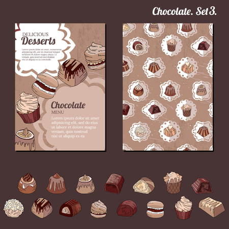sweetmeats: Template with different kinds of chocolate candies - milk,dark,white chocolate.   For your design, announcements, cards, posters, restaurant menu.