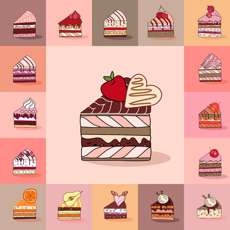 cake slice: Template with different kinds of cake slices. Delishious desserts, various taste. For restaurant design, posters, announcements, cafe menu etc.