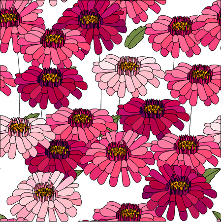 aster: Seamless pattern made of red daises and asters. Endless floral texture Illustration