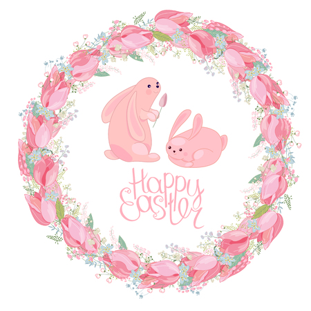 Easter round  wreath with rabbits, tulips, herbs and phrase Happy Easter. Red and pink color. White background. Illustration