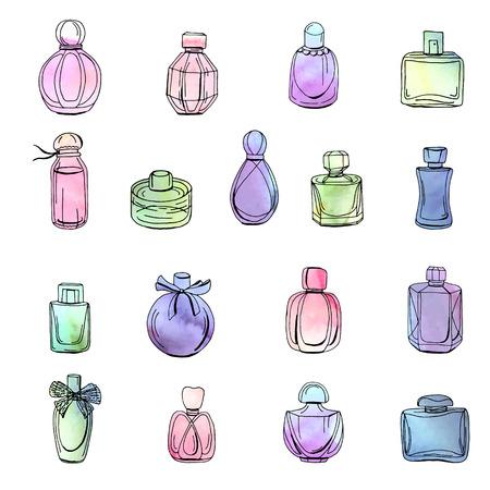 Colección con diferentes botellas de perfume de mujer. Objetos aislados en blanco. Efecto de acuarela, ilustración vectorial.