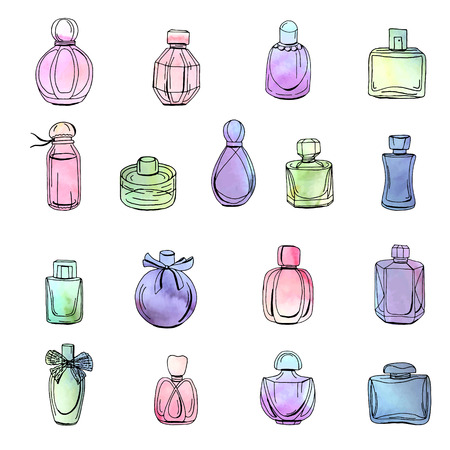 Collection with different bottles of woman perfume. Objects isolated on white. Watercolor effect, vector illustration. Vettoriali