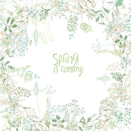 Cadre carré avec galanthus de contour et d'herbes sur blanc. Motif avec des fleurs pour la conception de votre ressort, cartes de voeux florale, posters.