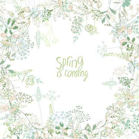 Square frame with contour galanthus and herbs on white. Pattern with flowers for your spring design, floral greeting cards, posters.