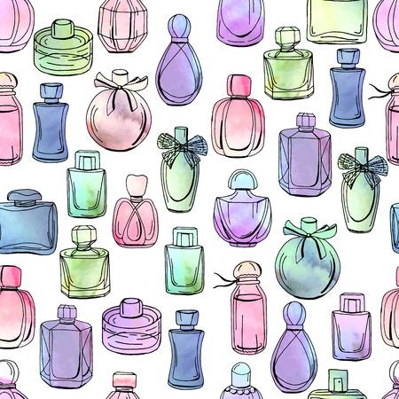 Patrón sin fisuras con diferentes botellas de perfume de mujer. Textura sin fin en blanco. Efecto de acuarela, ilustración vectorial.
