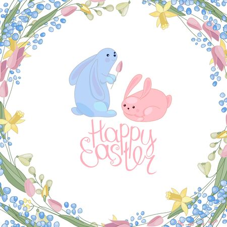 Greeting easter card with rabbits, flowers, herbs and phrase Happy Easter. Blue and red color. White background. Illustration