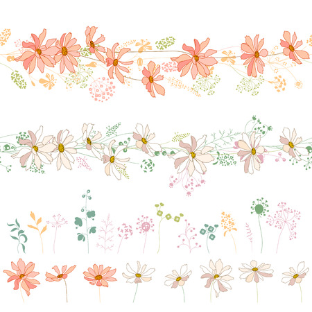 aster: Seamless horizontal borders with flowers: orange asters and white daisies. Illustration