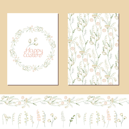 pussy willow: Floral spring templates with cute white flowers. Endless horizontal pattern brush and isolated objects. For romantic and easter design, announcements, greeting cards, advertisement. Illustration