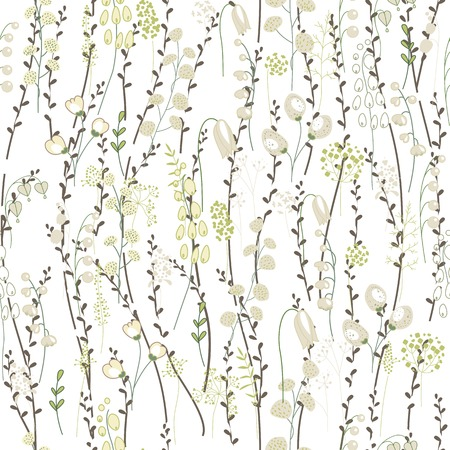 Seamless spring pattern with stylized cute pussy willow. Endless texture for your design, greeting cards, announcements, posters.