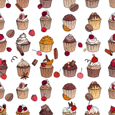 comfit: Seamless pattern with different cupcakes with fruits and chocolate. Endless texture for restaurant and cafe menu on white