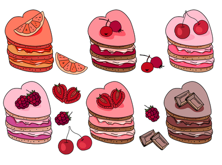 sweet pastry: Set with sweet desserts. Collection with pastry,heart  shape, fruits, berries and chocolate. Objects isolated on white background. Red, pink and brown color.