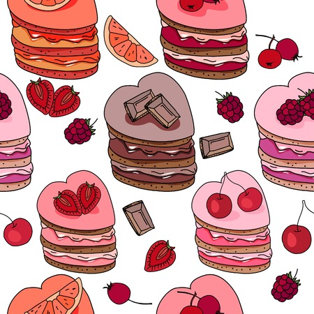 sweet heart: Seamless pattern with sweet desserts. Pastry,heart  shape, fruits, berries and chocolate. Endless pattern, white background. Red, pink and brown color. Illustration
