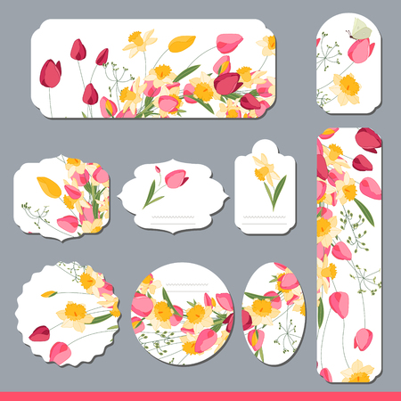 Floral spring templates with cute bunches of tulips and daffodils. For romantic and easter design, announcements, greeting cards, posters, advertisement. Vetores