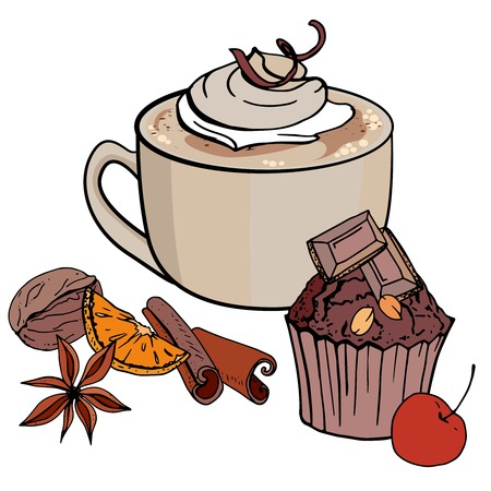Cup of coffee and sweet chocolate cupcake isolated on white background. Vector illustration. For restaurant and cafe menu. Illustration