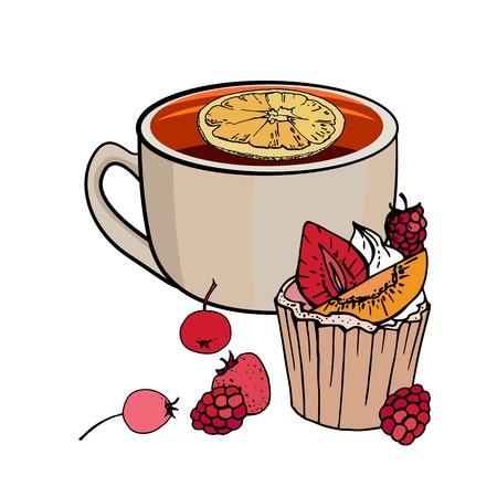 Tasse de thé et muffin sucré avec des baies isolées sur fond blanc. Illustration vectorielle. Pour le menu du restaurant et du café. Vecteurs