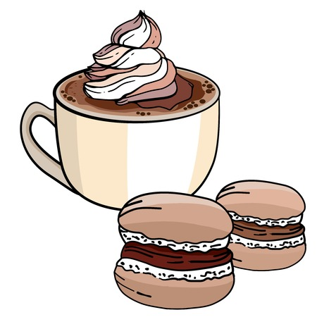 macaron: Cup of coffee and sweet chocolate merengue isolated on white background. Vector illustration. For restaurant and cafe menu.