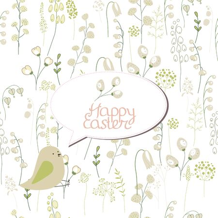 pussy willow: Floral greeting card with phrase Spring is coming. Template for your festive design, announcements, greeting cards, posters, advertisement. Background is seamless.