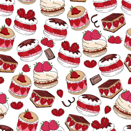 sweet pastry: Seamless pattern with sweet desserts. Pastry, fruits, berries,chocolate and cream. Endless pattern, white background. Red, pink and brown color.