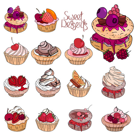 sweetmeat: Set with sweet desserts. Collection of cupcakes with fruits, berries and chocolate. Objects isolated on white background. Red, pink and brown color.