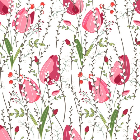 pussy willow: Seamless spring pattern with stylized cute pink flowers.  Endless texture for your design, greeting cards, announcements, posters.