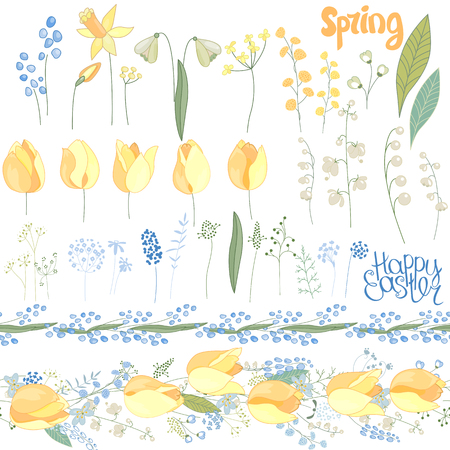 Easter  set with spring tulips, plants,daffodils and herbs. Yellow and blue colors. Objects isolated on white background 矢量图像