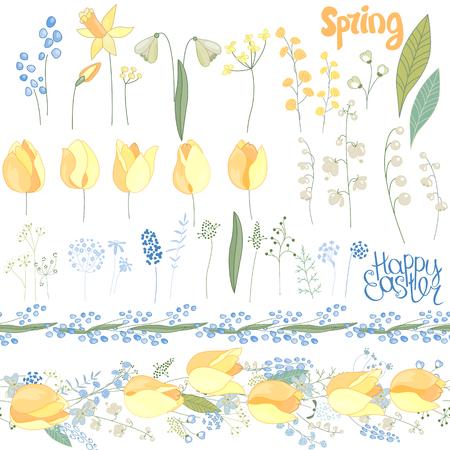 Pasen met de lentetulpen, installaties, gele narcissen en kruiden wordt geplaatst dat. Gele en blauwe kleuren. Voorwerpen op witte achtergrond worden geïsoleerd die