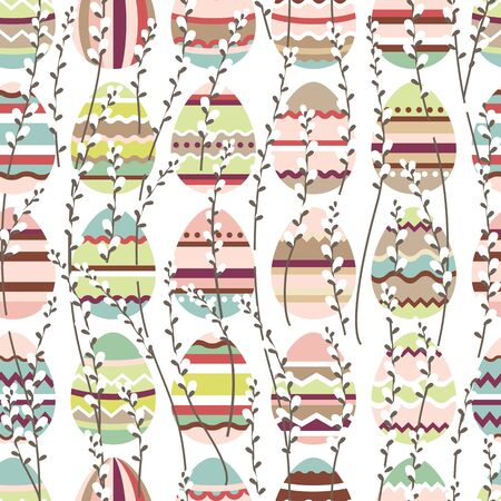 pussy willow: Seamless spring pattern with stylized cute eggs.  Endless texture for your design, greeting cards, announcements, posters.