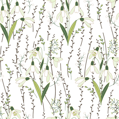 pussy willow: Seamless spring pattern with stylized cute flowers.  Endless texture for your design, greeting cards, announcements, posters. Stock Photo