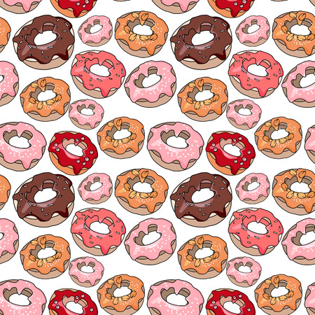 sweet pastry: Seamless pattern with sweet desserts. Pastry,donuts. Red, pink and brown color. Endless pattern, white background Stock Photo