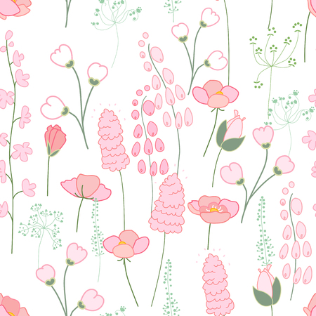 april clipart: Seamless spring pattern with stylized cute pink flowers.  Endless texture for your design, greeting cards, announcements, posters.
