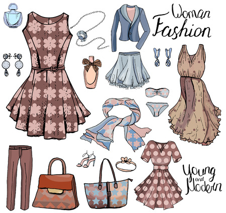 romantic woman: Pack with woman dresses,shoes and bra. Objects on white for fashion design. Romantic and casual style. Illustration