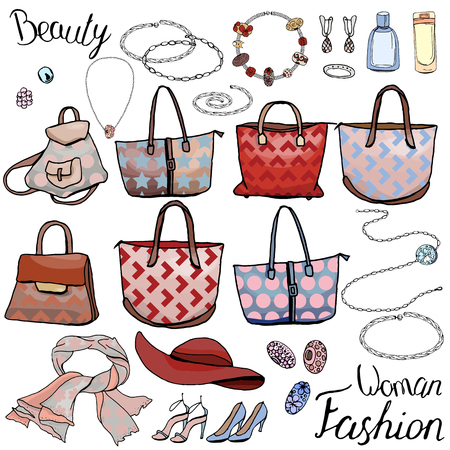 romantic woman: Pack with woman accessories, jewel, bags. Objects on white for fashion design. Different style and color color. Romantic, business,casual and glamour style.