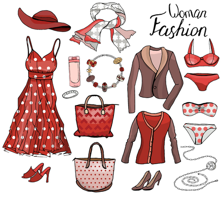 romantic woman: Pack with woman dresses,shoes and bra. Objects on white for fashion design. Red and brown color. Romantic and casual style.